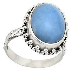 9.04cts natural blue angelite 925 sterling silver solitaire ring size 7 r2613