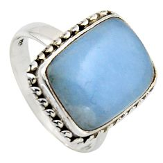 9.67cts natural blue angelite 925 sterling silver solitaire ring size 8.5 r2615