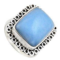 10.68cts natural blue angelite 925 sterling silver solitaire ring size 7 r2617