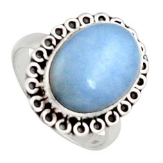 925 sterling silver 8.44cts natural blue angelite solitaire ring size 8.5 r2618