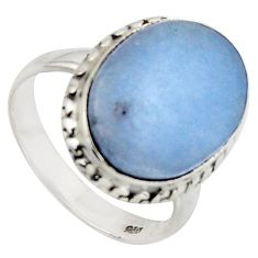 9.99cts natural blue angelite 925 sterling silver solitaire ring size 7 r2620
