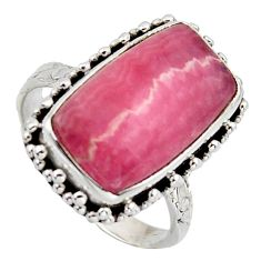9.72cts natural pink rhodochrosite inca rose silver solitaire ring size 9 r2628