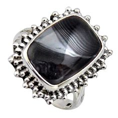 9.03cts natural black psilomelane 925 silver solitaire ring size 7.5 r2658