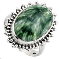 13.71cts natural green seraphinite 925 silver solitaire ring size 8 r2666