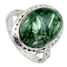 925 silver 11.23cts natural green seraphinite oval solitaire ring size 8 r2668
