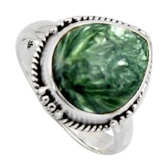 6.95cts natural green seraphinite 925 silver solitaire ring size 8 r2669