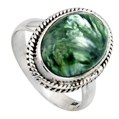6.31cts natural green seraphinite 925 silver solitaire ring size 7.5 r2674