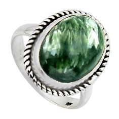 10.24cts natural green seraphinite 925 silver solitaire ring size 8.5 r2675