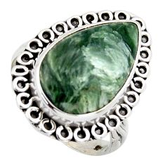 925 silver 10.29cts natural green seraphinite pear solitaire ring size 8 r2680