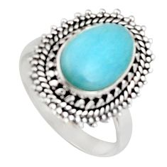 925 silver 10.81cts natural blue larimar solitaire ring jewelry size 7.5 r2688