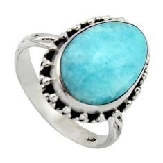 7.90cts natural blue larimar 925 silver solitaire ring jewelry size 8.5 r2697