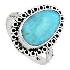 7.04cts natural blue larimar 925 sterling silver solitaire ring size 9 r2701