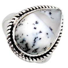11.73cts natural white dendrite opal 925 silver solitaire ring size 6.5 r2753