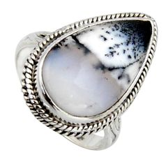 925 silver 10.82cts natural white dendrite opal pear solitaire ring size 7 r2760