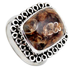 11.19cts natural brown turritella fossil snail agate silver ring size 7 r2763