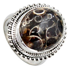 12.34cts natural brown turritella fossil snail agate silver ring size 7 r2764
