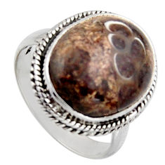925 silver 11.21cts natural turritella fossil snail agate ring size 7.5 r2765