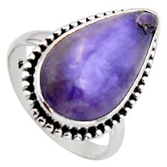 12.60cts natural purple tiffany stone 925 silver solitaire ring size 9 r2814
