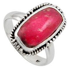 6.10cts natural pink thulite 925 silver solitaire ring jewelry size 7 r2829