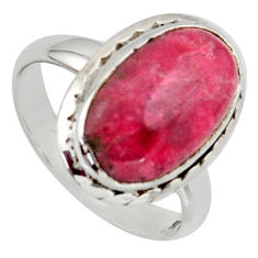 925 silver 5.23cts natural pink thulite oval solitaire ring size 6.5 r2830