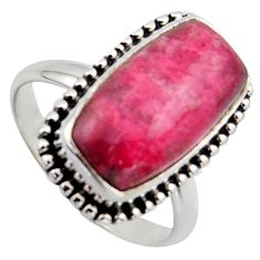 6.84cts natural pink thulite octagan 925 silver solitaire ring size 8 r2832