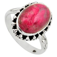 6.02cts natural pink thulite oval 925 silver solitaire ring size 8.5 r2835