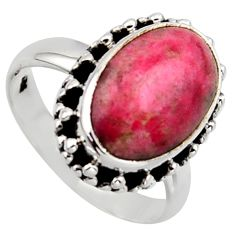 925 sterling silver 6.02cts natural pink thulite solitaire ring size 7 r2836