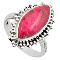 7.88cts natural pink thulite 925 silver solitaire ring jewelry size 8.5 r2837
