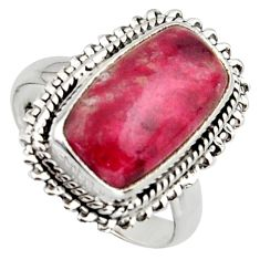 925 silver 6.83cts natural pink thulite octagan solitaire ring size 7.5 r2839