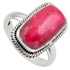 7.12cts natural pink thulite 925 silver solitaire ring jewelry size 8.5 r2840