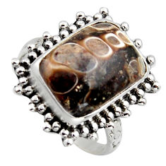 10.04cts natural turritella fossil snail agate 925 silver ring size 8.5 r2841