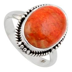 6.53cts red copper turquoise 925 sterling silver solitaire ring size 7.5 r2860