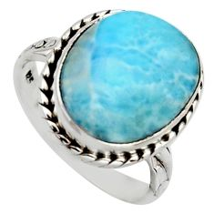 10.78cts natural blue larimar 925 silver solitaire ring jewelry size 8.5 r2861