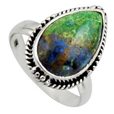 925 silver 7.04cts natural green azurite malachite solitaire ring size 7.5 r2868