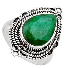 6.33cts natural green emerald 925 sterling silver solitaire ring size 8.5 r3017
