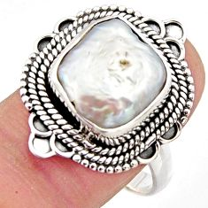 6.57cts natural white pearl 925 sterling silver solitaire ring size 9 r3021