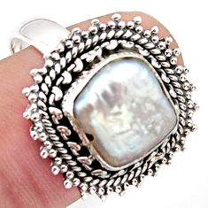 5.74cts natural white pearl 925 sterling silver solitaire ring size 8 r3033