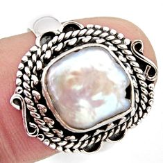 5.76cts natural white pearl 925 sterling silver solitaire ring size 8 r3036