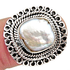 925 sterling silver 5.97cts natural white pearl solitaire ring size 8 r3040