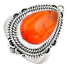 8.14cts natural orange cornelian 925 silver solitaire ring size 7.5 r3042