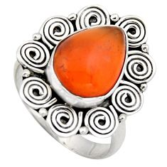 5.97cts natural orange cornelian 925 silver solitaire ring size 9 r3050