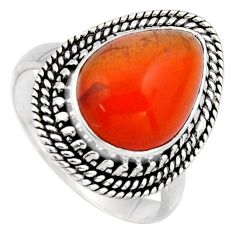 5.53cts natural orange cornelian 925 silver solitaire ring size 7 r3055
