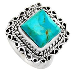 5.63cts blue arizona mohave turquoise 925 silver solitaire ring size 8.5 r3063