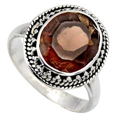 5.13cts brown smoky topaz 925 sterling silver solitaire ring size 8.5 r3081