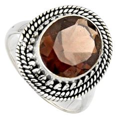 5.29cts brown smoky topaz 925 sterling silver solitaire ring size 7.5 r3083