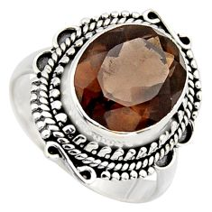 5.29cts brown smoky topaz 925 sterling silver solitaire ring size 7.5 r3086