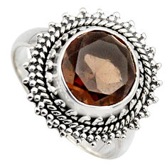 5.52cts brown smoky topaz 925 sterling silver solitaire ring size 8.5 r3097