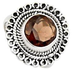 5.50cts brown smoky topaz 925 sterling silver solitaire ring size 8 r3098
