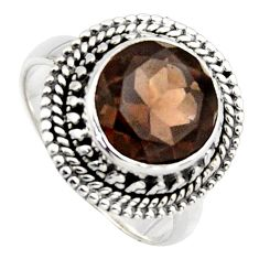5.57cts brown smoky topaz 925 sterling silver solitaire ring size 7.5 r3099