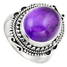 6.94cts natural purple amethyst 925 silver solitaire ring jewelry size 9 r3106